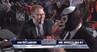 Ian Riccaboni and Mr. Wrestling 3 at Ring of Honor's Winter Warriors Tour