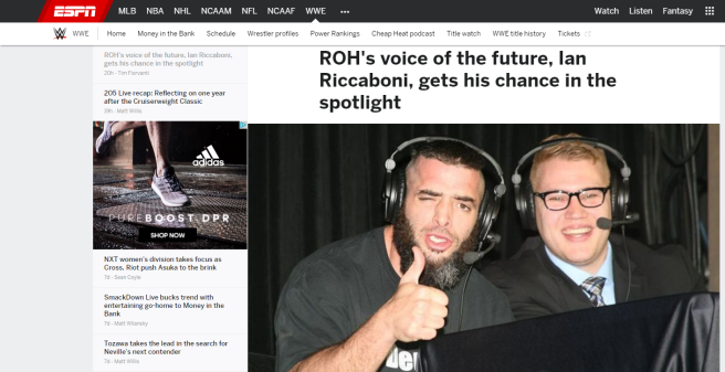 Ian Riccaboni, voice of Ring of Honor, featured on ESPN.com